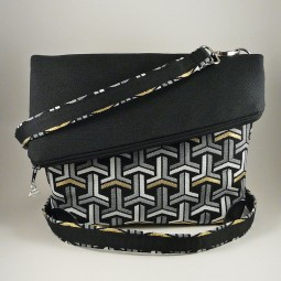 Schultertasche Foldover Bag MYLULABAG Damen Umhängetasche schwarz-weiss MUSTERMIX