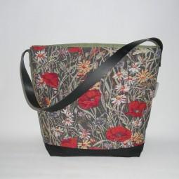 Schultertasche Hobo Bag grün rot Blumen, schwarz, Reissverschluss, Damen, poppy - MOHN -