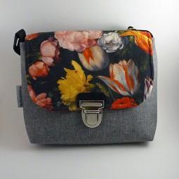 Praktische Schultertasche, Umhängetasche, crossover, bunt, Blumen, Tulpen - FLOWERS - -