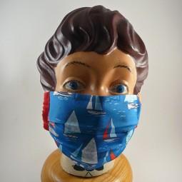 Mund Nasen Maske mit Bügel reine Baumwolle 2 lagig Schiff Anker - BOOTE -