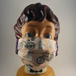 Maske mit Bügel waschbar Baumwolle bike schwarz weiss lila - FAHRRAD -