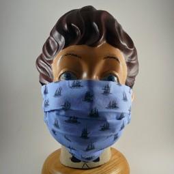 Mund Nasen Maske mit Bügel reine Baumwolle Schiff waschbar - SEGELSCHIFFE -