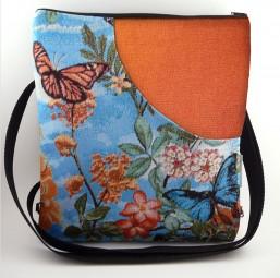 Schultertasche/Rucksack - Blumen und Schmetterlinge -