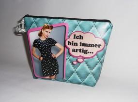 Kulturbeutel Waschbeutel Frauen Plane bedruckt gefüttert grün pink old shool pin up- IMMER ARTIG-